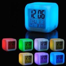 Beli 7 Warna Led Mengubah Jam Alarm Digital Gadget Meja Digital Alarm Thermometer Malam Glowing Cube Lcd Clock Warna Putih Intl Online Terpercaya