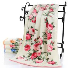 75X140 Cm Besar Handuk Mandi Katun Peony Bunga Kamar Mandi Rumah Hotel Pantai Spesifikasi: merah Muda Gaya 1 Keberuntungan-G-Internasional