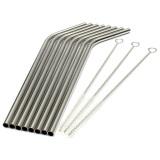 Promo 8 Pcs Stainless Steel Logam Minum Jerami Reusable Sedotan Plus 3 Cleaner Sikat Kit Intl Murah