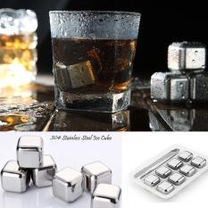 8 Pcs Stainless Steel Reusable Es Batu Set Tongs + Freezer Tray Beer Whisky-Intl