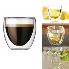 Jual Beli 8 Pcs X 80Ml Double Wall Coffee Glass Mug Cups Insulate Office Tea Mug Intl Tiongkok