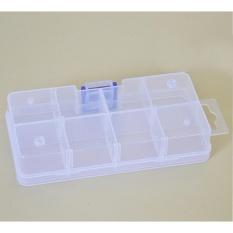 8/10/15/24 Kompartemen Kotak Plastik Transparan Kosmetik Alat Tangkap Perhiasan Listrik Aksesoris Obat Pil Penyimpanan Detachable Kontainer Kerajinan Organizer Spesifikasi: Square 8 Grid-Internasional