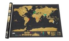 Harga 82 5X59 4 Cm Scratch Map Black Scratch Map Dapat Menggores Planimetric Map Versi Dunia Travel Life Oem Online