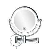 Toko 8 5 Inch Dinding Cermin Rias Dengan Cahaya Led Makeup Mirror 5 Kali Diperbesar Double Wall Mirror Cermin Kamar Mandi 22 Cm Bingkai 22 Cm Terdekat