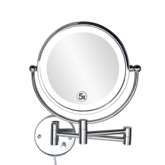 8 5 Inch Dinding Cermin Rias Dengan Cahaya Led Makeup Mirror 5 Kali Diperbesar Double Wall Mirror Cermin Kamar Mandi 22 Cm Bingkai 22 Cm Oem Diskon