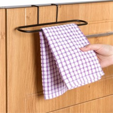 8 Pcs Dapur Pintu Besi Single Rak Kamar Mandi Handuk Rel Dudukan Bar Gantungan Kait-Internasional