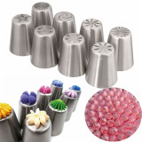 Review 8 Pcs Bunga Tulip Rusia Icing Piping Nozel Kue Dekorasi Tip Baking Alat Set Intl