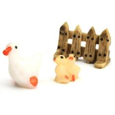 8 Pcs Set 3 Pcs Ornamen Taman Patung Miniatur Resin Kerajinan Pot Tanaman Dekorasi Peri Bebek Tiga Potong- INTL