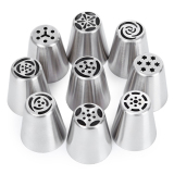9 Pcs Stainless Steel Nozel Set Cake Decoration Tip Tahan Aus Dan Anti Korosi Piping Pastry Tabung Pola Pemasangan Asli