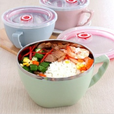 900ml,1200ml Double Stainless Steel Bowls With Transpar Cover and Anti-hot handle,Kitchen Bowl Ramen Bowl Food Container,ciotola - intl