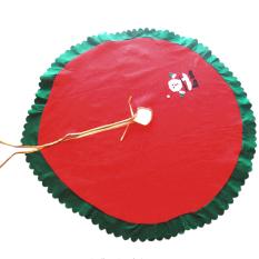 Promo 90 Cm Rok Pohon Natal Sinterklas Pola Bordiran Hijau Tepi Bergelombang