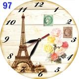 Beli 97 Jam Dinding Motif Menara Eiffel Retro Klasik Vintage Natural Asli