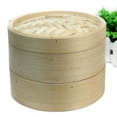 AC 2 Tier Bamboo Steamer Set dengan Dua Lapisan dan Satu Tutup untuk Rumah Dapur Cookware-Intl