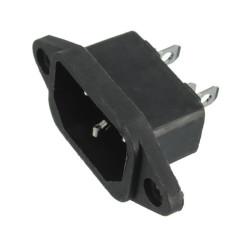 AC IEC320 C14 Pria 3Pin Panel Tenaga Pemasangan Soket Masuk 250 V 10 Amp (Hitam)