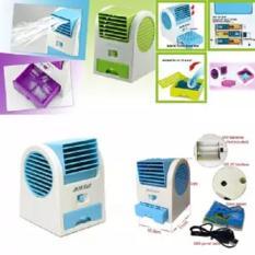 AC Portable Mini - DOUBLE WINDOW KIPAS ANGIN DUDUK / MEJA / USB / MINI HANDHELD AC-hijau