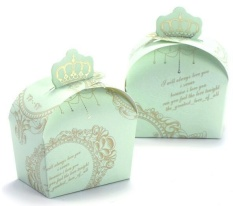 Adeeing 50 Pcs Pernikahan Favor Candy Box Royal Crown Desain Baby Shower Gift Boxes Hijau-Intl