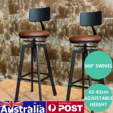 Adjustable Retro Logam Kerajinan Bar Stool Furniture Swivel Cafe Counter Kursi 220LB-Intl