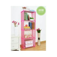 Diskon Besarahim Shop Rak Portable Serbaguna 5 Susun 4 Ruang Untuk Buku Barang Rumah Tangga Multifungsi Motif Polkadot Pink