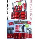 Review Ahim Shop Stainless Steel Cutlery Set 24Pcs Peralatan Sendok Makan Sendok Teh Garpu Forks Pisau Knives Rak Polkadot Merah Terbaru