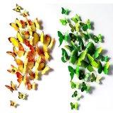 Beli Ai Home 24 Pcs 3D Butterfly Wall Stiker Decals Dekorasi Rumah Kuning Hijau Ai Home Murah