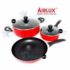 AirLux Panci Teflon Set Lengkap Fry, Sauce, Caserole Pan - Merah