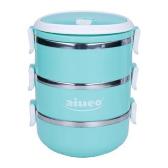 AIUEO Eco Lunch Box Stainless Steel Rantang 3 Susun Glossy .