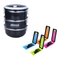 Rp 58.888. AIUEO Eco Lunch Box Stainless Steel Rantang 3 Susun Glossy Bundling Set Peralatan Makan Travel ...