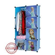 AIUEO Lemari Pakaian Anak Gambar Frozen 4 Tingkat 5 Laci 1 Gantungan - Biru