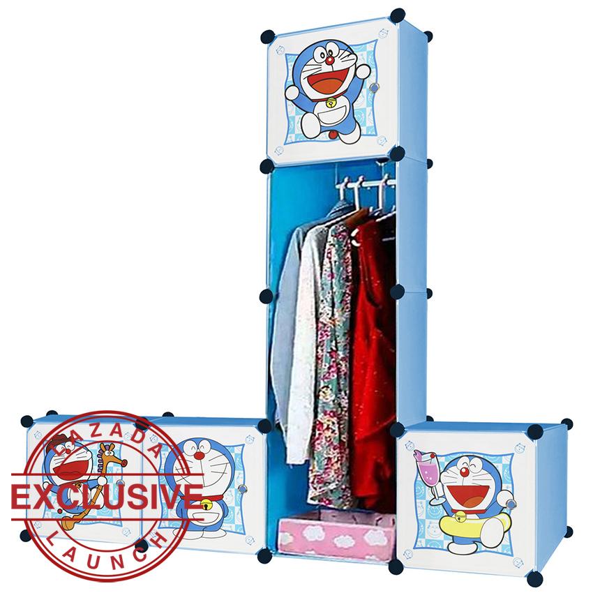 Angel Lemari Pakaian Motif Doraemon 4 Pintu 3 Kotak 1 Gantungan Type 7.20 - Biru