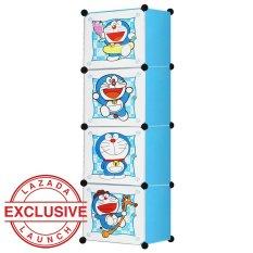 AIUEO Lemari Pakaian Motif Doraemon 4 Pintu Type 4.4 - Biru