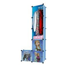 AIUEO  Lemari Pakaian Motif Frozen 3 Pintu 3 Kotak 1 Gantungan Type 6.6 - Biru