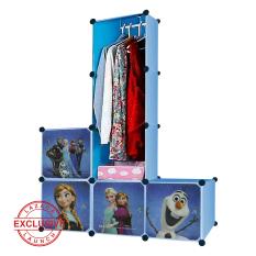 AIUEO Lemari Pakaian Motif Frozen 4 Pintu 3 Kotak 1 Gantungan Type 7.38 - Biru