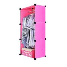 AIUEO Lemari Pakaian Motif Hello Kitty 3 Kotak 1 Gantungan Type 3.1 - Pink