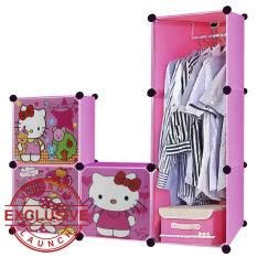 AIUEO Lemari Pakaian Motif Hello Kitty 3 Pintu 3 Kotak 1 Gantungan Type 6.22 - Pink