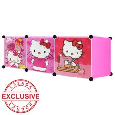 AIUEO Lemari Pakaian Motif Hello Kitty 3 Pintu Type 3.3 - Pink