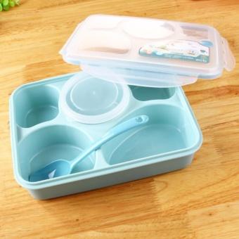 Aiueo Kotak Makan Lunch Box Food Container Set Bento Food Safe Eco Friendly Nagoya Free Sendok - Biru Terbuat Dari Jerami Gandum