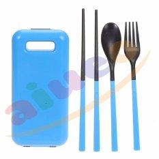 Aiueo Set Peralatan Makan Travel Sendok Garpu Sumpit Portable - Biru
