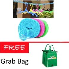 AIUEO Tali Jemuran 5 meter Serbaguna/Baju Handuk Hanger + Grab Bag Kantong Belanja Serbaguna
