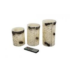 Akari Set 3 Efek Birch Bark Lilin Gading Asli LED Flamelesscandles dengan 8 Jarak Jauh dan Penghitung Waktu Pedesaan liburan Christmascelebratory Kesempatan (Hangat Putih) -Internasional