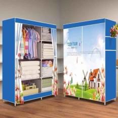 Allunique Lemari Pakaian Portable 2 Layer Happy House Allunique Murah Di Banten
