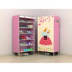 Jual Allunique Rak Sepatu 6 Susun Motif Pink Love Banten