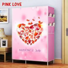 Almari pakaian furniture lemari baju lemari baju anak minimalis lemari pakaian anak murah Pink Love Double Rack