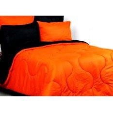 Spesifikasi Alona Ellenov Polos Sprei Bahan Katun Hitam Oranye Online