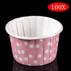 Jual Amart 100 Buah Cetakan Cupcake Kue Kertas Muffin Bentuk Bulat Warna Titik Merah Muda Intl Murah