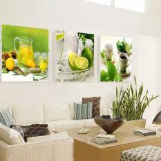 Amart 3 Panel Gambar Lukisan Buah Lemon Hiasan Dapur Lanskap Cuadros For Ruang Tamu-Intl