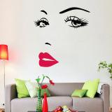 Beli Amart 3D Wajah Mata And Bibir Dinding Stiker Wallpaper Dinding Ruang Tamu Stiker Decal Internasional Cicilan