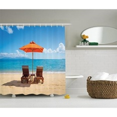 Ambesonne Coastal Decor Collection, Two Chairs near Caribbean Sea under Colorful Umbrella Wedding Celebrations Picture, Polyester Fabric Bathroom Shower Curtain, Orange Beige Blue - intl