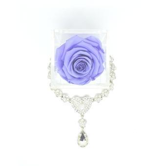 Amefurashi Kotak Akrilik + Bunga Mawar Lavender Rose Beauty Preserved Flower