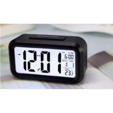 Toko Angel Smart Digital Lcd Led Alarm Clock Temperature Calendar Auto Night Sensor Clock Black Online Terpercaya