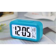 ANGEL Smart Digital LCD/LED Alarm Clock Temperature Calendar Auto Night Sensor Clock - Blue
